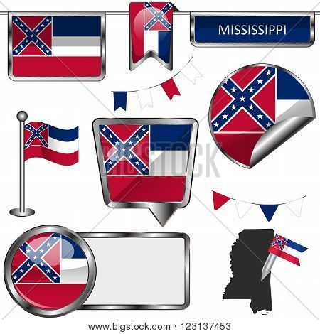 Glossy Icons With Flag Of State Mississippi