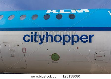 Amsterdam Schiphol Airport Noord Holland/the Netherlands - March 10 2016: fuselarge of a KLM fokker 100 passenger aircraft