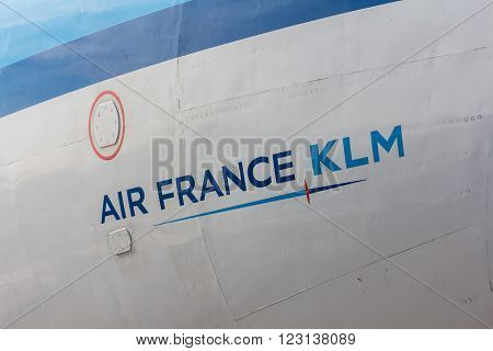 Amsterdam Schiphol Airport NorthHolland/the Netherlands - March 10 2016: Air France KLM painted on the side of a fokker 100 on viewing platform
