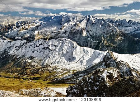 view from Sass Pordoi to massif Marmolada, Dolomites, Italy