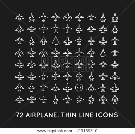 72 thin line vector icons of airplanes on black background