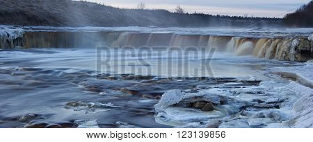 night photography Tosno waterfall, a moonlit night on the river ** Note: Soft Focus at 100%, best at smaller sizes