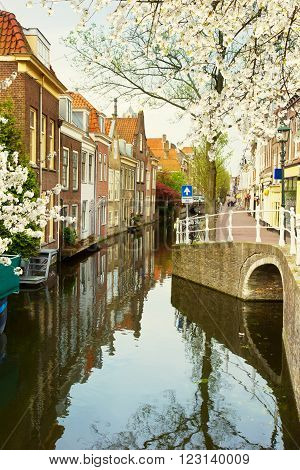 colorful street with canals in old town  of Delft at spring day, Holland