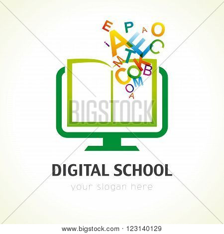 Template logo for distance learning digital technology via the Internet. Digital school book alphabet logo