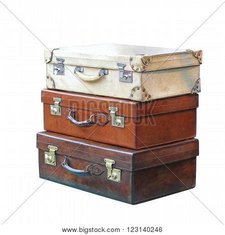 Vitage Leather Suitcases Isolated Included Clipping Path