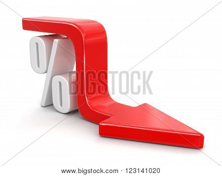 Percent Symbol with arrow down. Image with clipping path