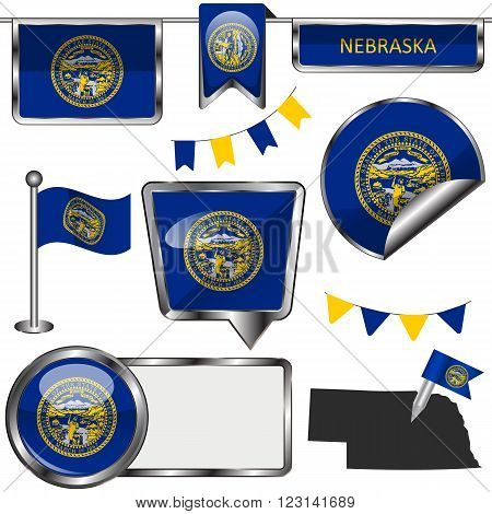 Glossy Icons With Flag Of State Nebraska