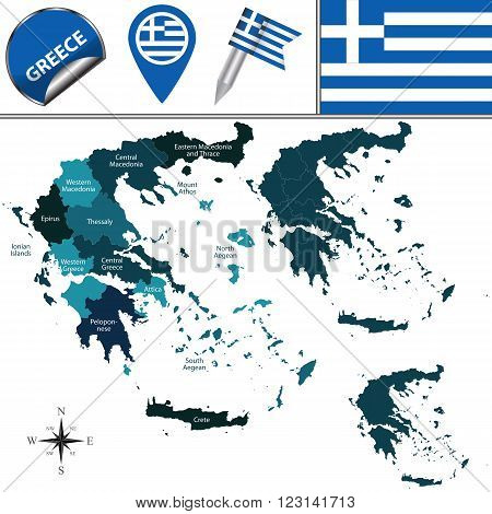 Map Of Greece With Named Regions