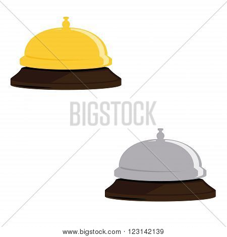 Vector illustration golden and silver hotel bell. Reception bell flat icon. Reception service bell