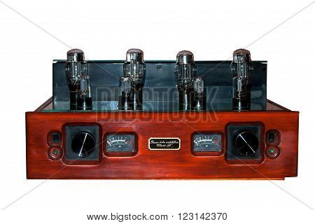 tube amplifier made of wood and a mirror panel with 8 lamps