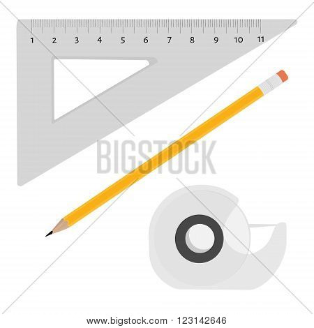 Vector illustration scotch tape pencil and triangle ruler office school stationery tools.
