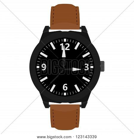 Vector illustration classic analog men wrist watch with brown leather band.