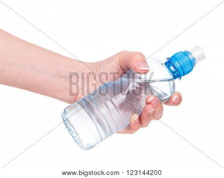 Young female hand with bottle of water isolated over white background