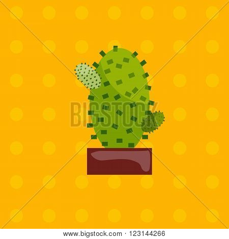 Illustration of houseplant, indoor and office plant in pot. Vector plant cactus in pot. Flat cactus, vector icon of cactus. Office plant in pot.