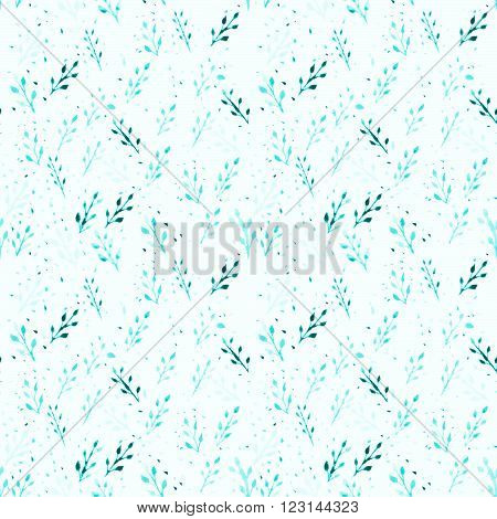 Watercolor leaves seamless raster pattern. Foliage. Can be used as card, fabric pattern.