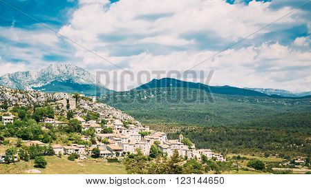 Beautiful Panorama Scenic View Of Medieval Hilltop Village Of Trigance In Provence, Cote De Azur, France