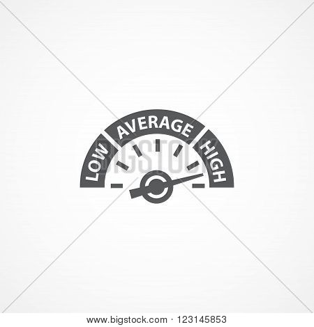 Gray Rating meter icon on white background