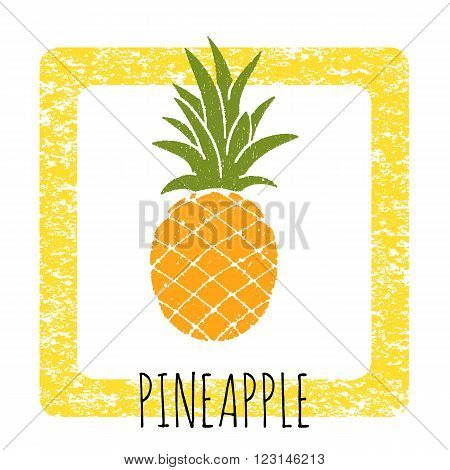 Icon pineapple cute hand-drawn. Vector illustration of a frame with a texture.
