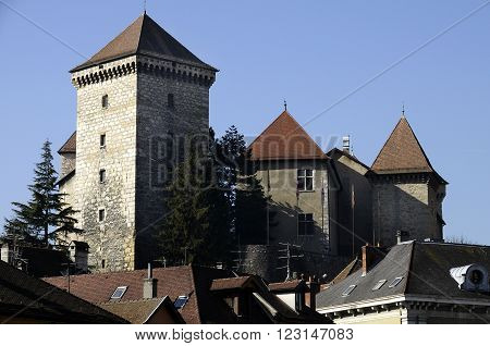 Old medieval castle of annecy town in Savoy France