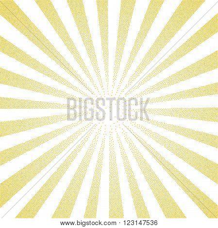 Sun Sunburst yellow pattern made of stipples. Vector illustration