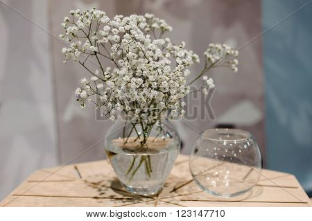 glass vase with bunch of Gypsophila Baby's-breath flowers on wooden table