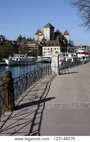 Boats, City And Castle Of Annecy