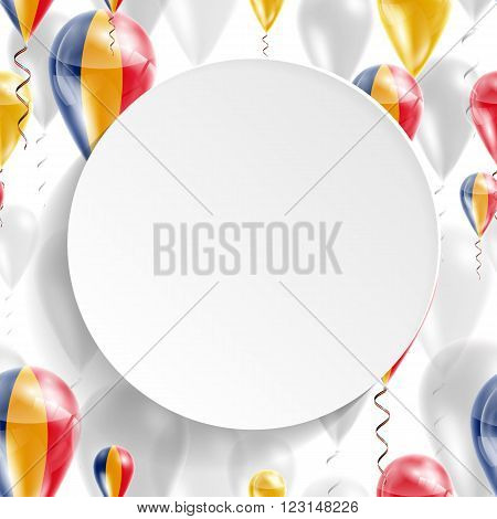 Romanian national flag. Independence Day. Flag of Micronesia on air balloon. Celebration and gifts. Balloons on the feast of the national day.  Use for brochures, printed materials, signs, elements