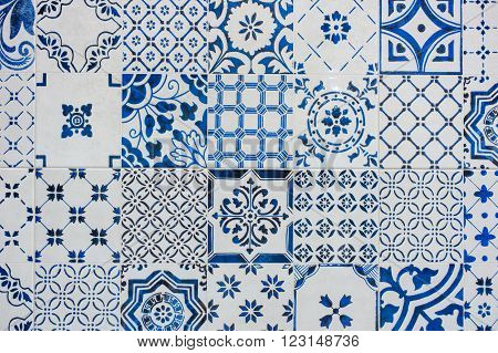 Ancient blue and white tile work called azulejos