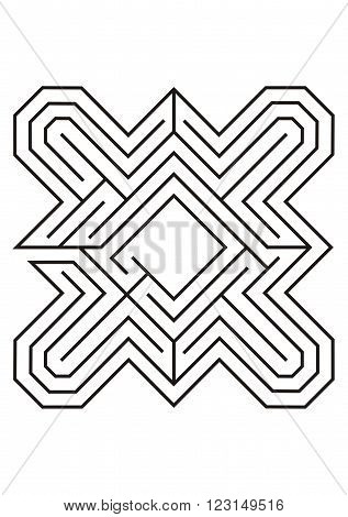 Labyrinth illustration with black lines on a white background
