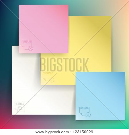 Vector color memo stickers background for print or web design
