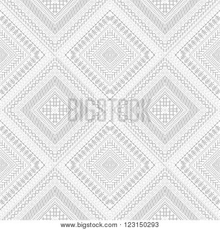Seamless White Ethnic Pattern.