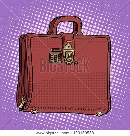 Case leather bag business businessman style pop art retro style. Secret lock with key. Business documents