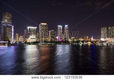 Illuminated Night View On Miami