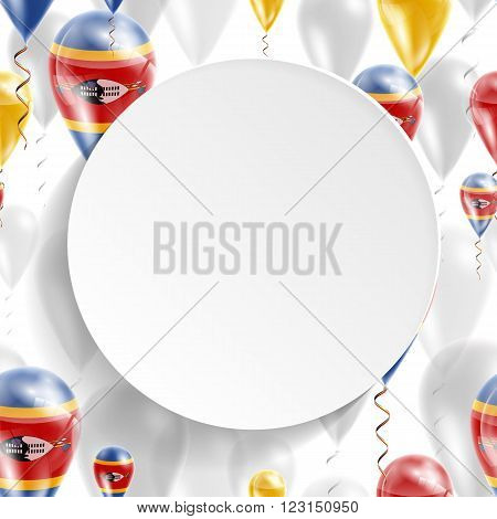 Flag of Swaziland. Independence Day. Flag of Micronesia on air balloon. Celebration and gifts. Balloons on the feast of the national day.  Use for brochures, printed materials, signs, elements