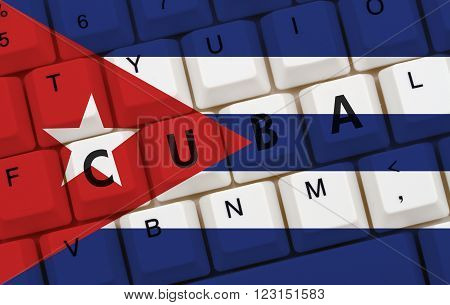 Restricted Internet access in Cuba The Cuban flag on a computer keyboard