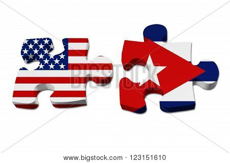 Relationship between the United Stated and Cuba Two pieces of a puzzle with the American flag on one and the Cuban flag on the other isolated over white