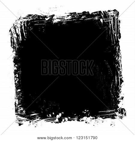 Square frame of hand-drawn white stains flourishes and blots on blackboard background. There is place for your text on black area.