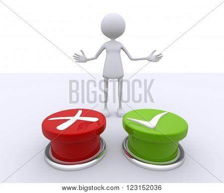 3d women - human character choosing between