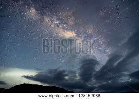 Milky way with cloud in deep forest