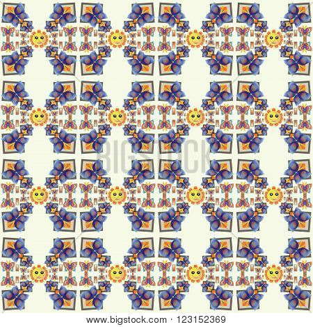 Smile Butterfly  Pattern with smile sunny in soft colors