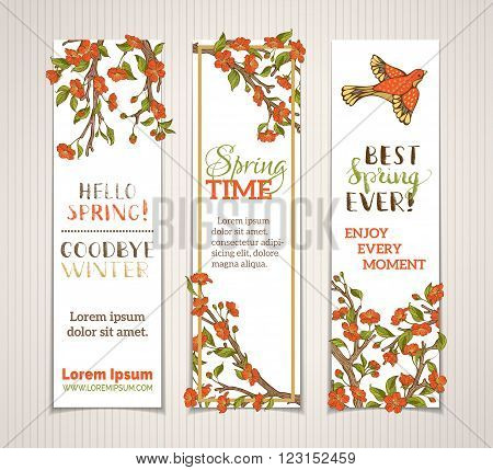 Vector Set Of Vertical Spring Banners.
