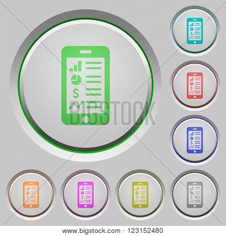 Set of color Mobile application sunk push buttons.