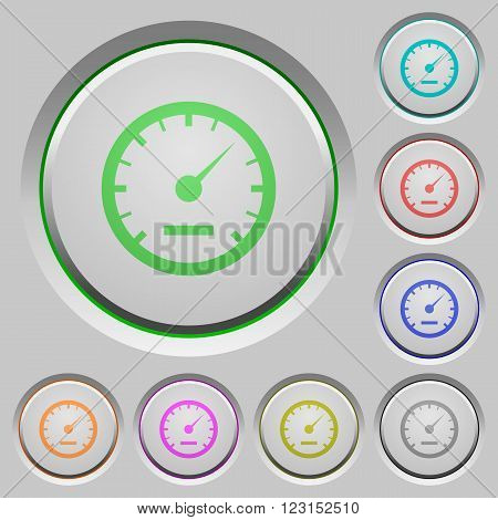 Set of color speedometer sunk push buttons.