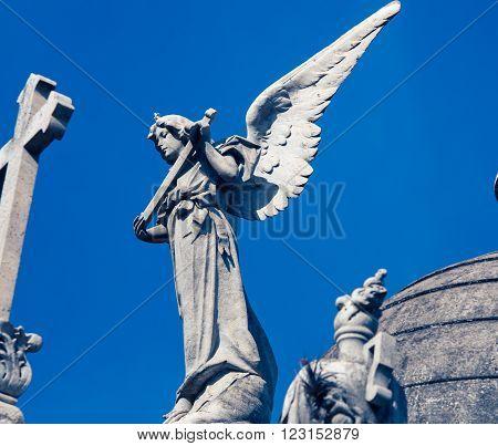 Statue Recoleta Cemetery in Buenos Aires Argentina