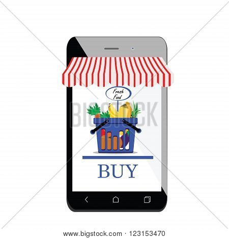 Vector illustration mobile shopping icon flat design. Mobile shopping app on smartphone with shopping basket shop awning and buy button. Shopping basket full of healthy organic fresh and natural food.