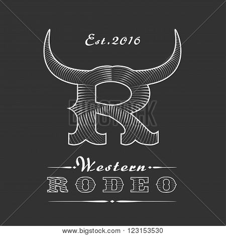 Rodeo vector logo template for event company product bar etc. Cowboy emblem. Wild West concept icon