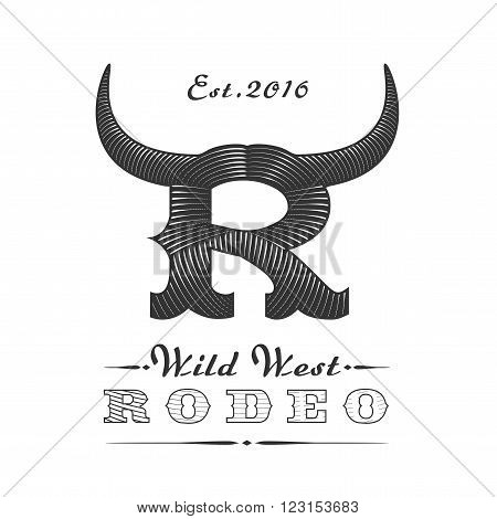 American rodeo vector logo template for event company product bar etc. Bull horns. Wild West sign