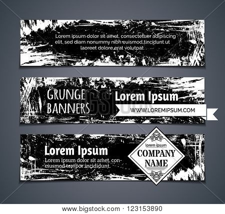 Vector Set Of Blackboard Horizontal Banners.
