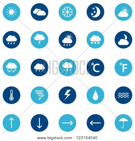 Set of weather icons on color background, vector illustration