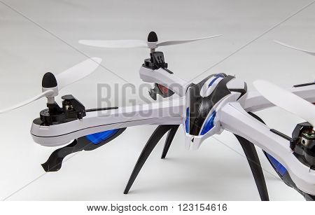 Showing an isolated drone on a white isolated background